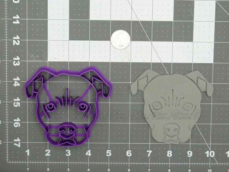 Pitbull Dog Head Cookie Cutter set of 2 Fondant Cutter Pastry Biscuit