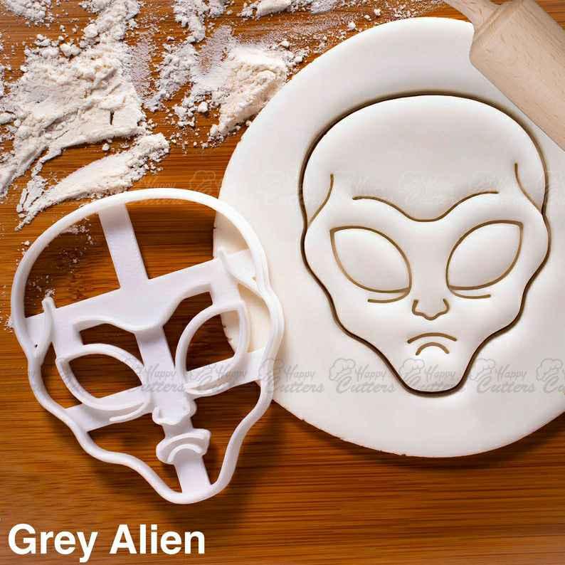 Grey Alien cookie cutterExtraterrestrial halloween party Zeta Reticulans UFO